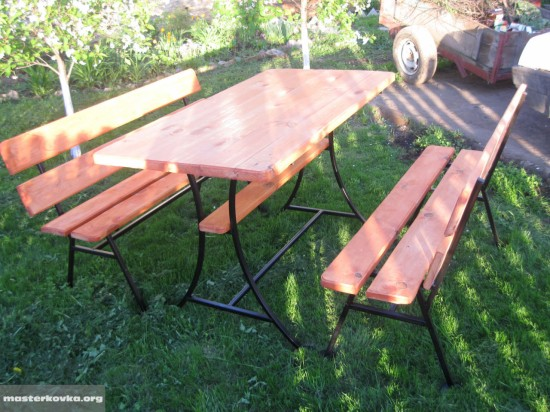 Комплект содовой мебели (2 скамейки и столик). 7500 рублей.